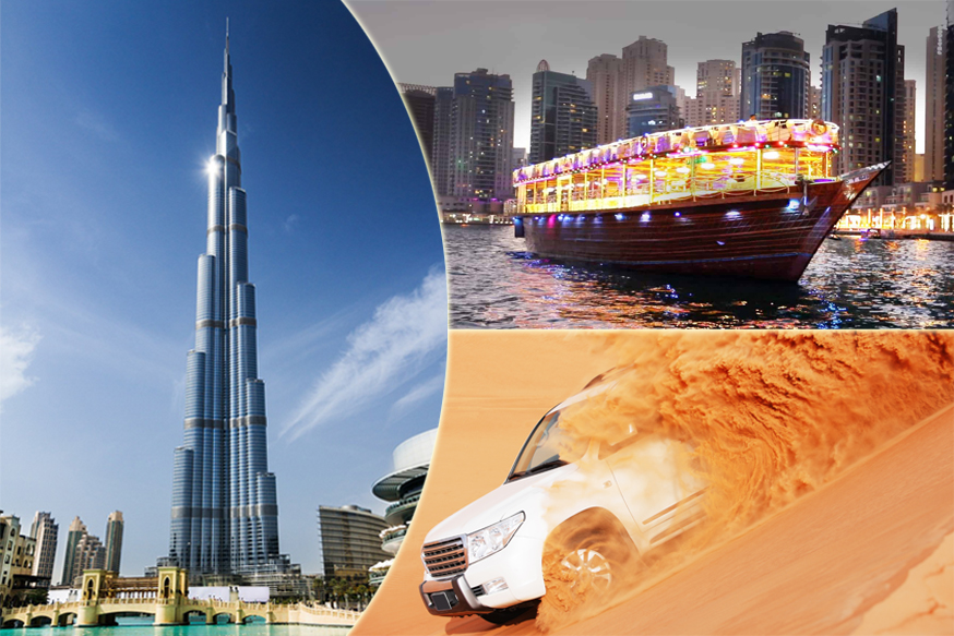 Desert Safari, Dhow Cruise and Burj Khalifa